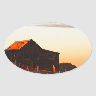 House at Sunset - 1 Oval Sticker
