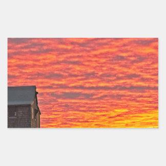 House at Sunset - 2 Rectangular Sticker