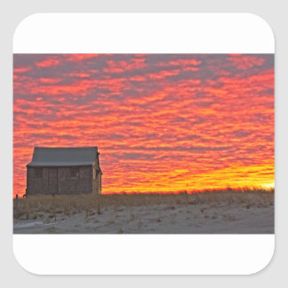 House at Sunset - 2 Square Sticker