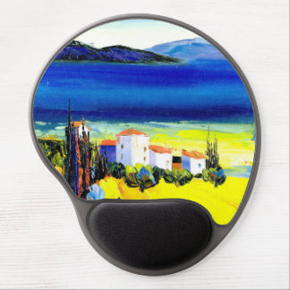 house by the sea colorful oil painting travel fun gel mouse pad