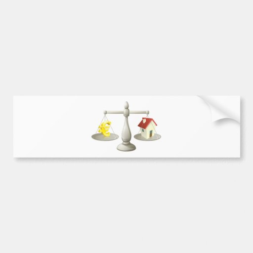 House cash euro scales concept bumper stickers