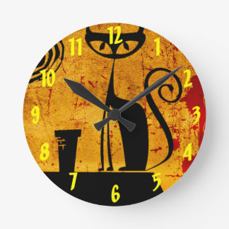 House Cat Round Clock