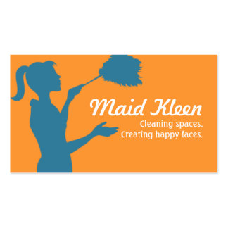 House Cleaning Housekeeper Maid Business Card Templates