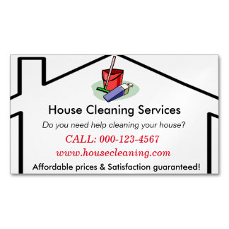 House Cleaning Services Business Card Template Magnetic Business Cards