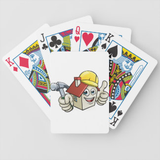 House Construction Mascot Cartoon Character Bicycle Playing Cards