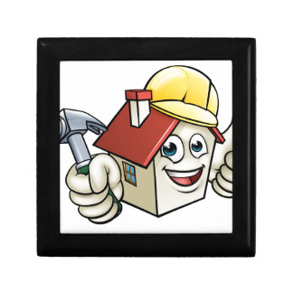 House Construction Mascot Cartoon Character Gift Box