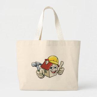 House Construction Mascot Cartoon Character Large Tote Bag