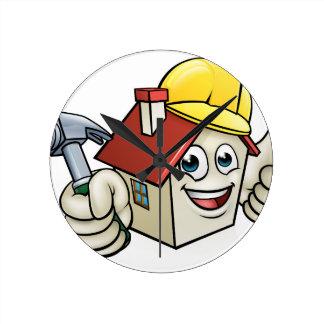 House Construction Mascot Cartoon Character Round Clock
