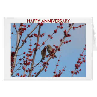 House Finches, Love Among The Buds 2, HAPPY ANN... Card
