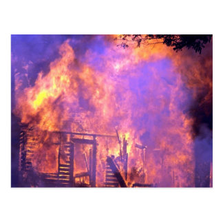 House fire in wind, Alabama Post Card