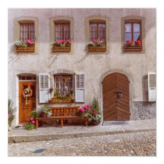 House in Gruyere village, Switzerland Card