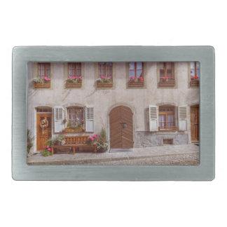 House in Gruyere village, Switzerland Rectangular Belt Buckles