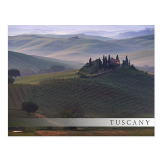 House in Tuscany in the morning fog bar postcard
