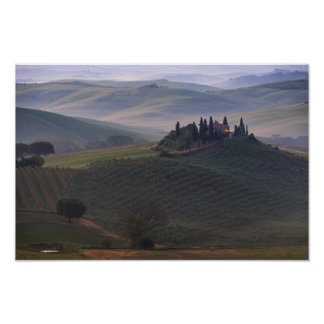 House in Tuscany in the morning fog poster