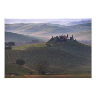 House in Tuscany in the morning fog print