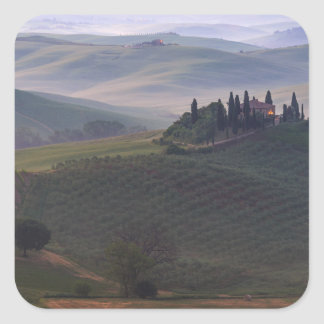 House in Tuscany in the morning fog sticker