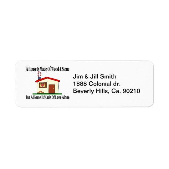 House Made Of Love Return Address Label