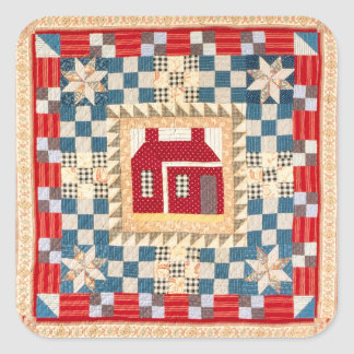 House Medallion Quilt with Multiple Borders Square Sticker