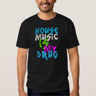 house music is my drug dj mens black t-shirt
