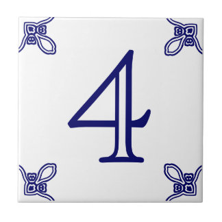 House Number - Spanish Blue on White Tile