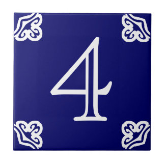 House Number - Spanish White on Blue Ceramic Tile