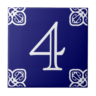 House Number - Spanish White on Blue Tile
