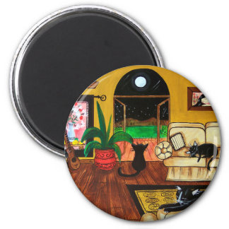 House of Cats Full Moon 6 Cm Round Magnet