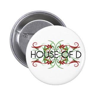 house of d logo 6 cm round badge