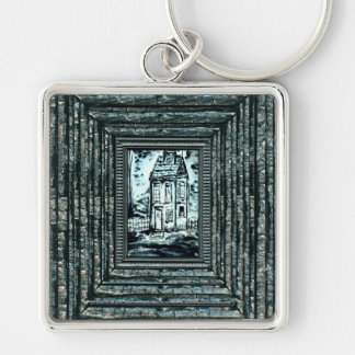 House of Deception Silver-Colored Square Key Ring