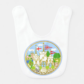 House of Hereford Blue Castle Baby Bib