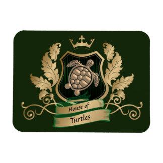 House of Turtles Crest Design magnet Green Gold
