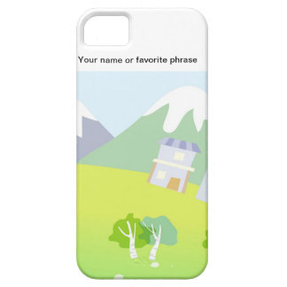 House on a hill on pastel blue background. iPhone 5 cover
