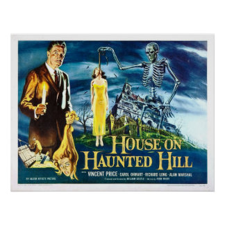 House on Haunted Hill Vintage Horror Movie Poster
