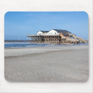 House on stilts at the beach of St. Peter Ording Mouse Pad