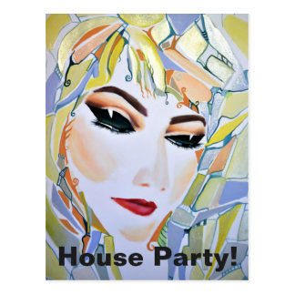 House Party! Dreamy Surreal Girl Postcard