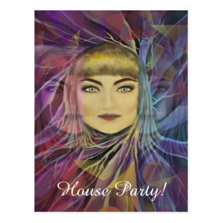 House Party! Psychedelia Dreamy Girl Postcard