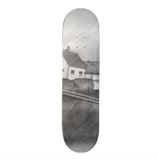 House photo drawing skate deck