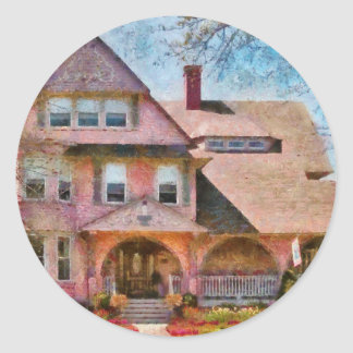 House - Pink Majestic Round Stickers
