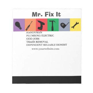 House Repair Repairman Men Tools Notepads