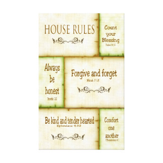 House Rules Wrapped Canvas