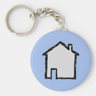 House Sketch. Black and Blue. Basic Round Button Key Ring