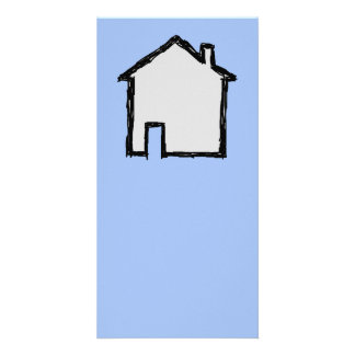 House Sketch. Black and Blue. Photo Greeting Card