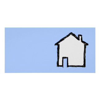 House Sketch. Black and Blue. Picture Card