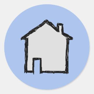 House Sketch. Black and Blue. Round Sticker