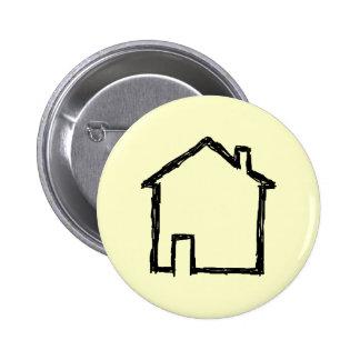 House Sketch. Black and Cream. 6 Cm Round Badge