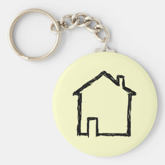 House Sketch. Black and Cream. Basic Round Button Key Ring