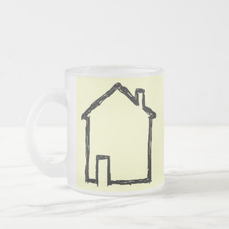 House Sketch. Black and Cream. Frosted Glass Mug