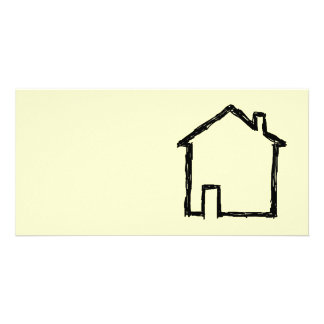 House Sketch. Black and Cream. Photo Greeting Card
