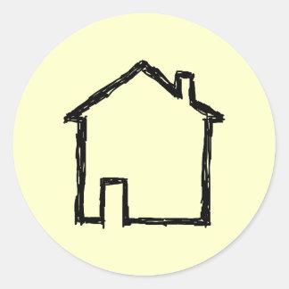 House Sketch. Black and Cream. Round Sticker