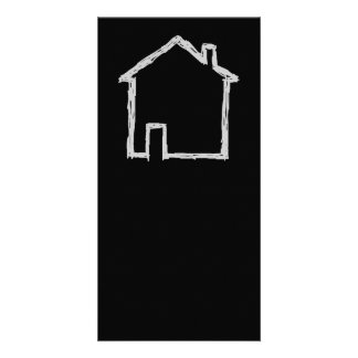 House Sketch. Gray and Black. Customised Photo Card